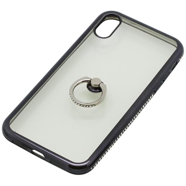 iPhoneXR用 6.1インチリング付ケースラインストーン